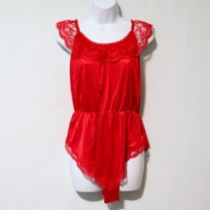 Vintage red lace lingerie bodysuit nightgown large